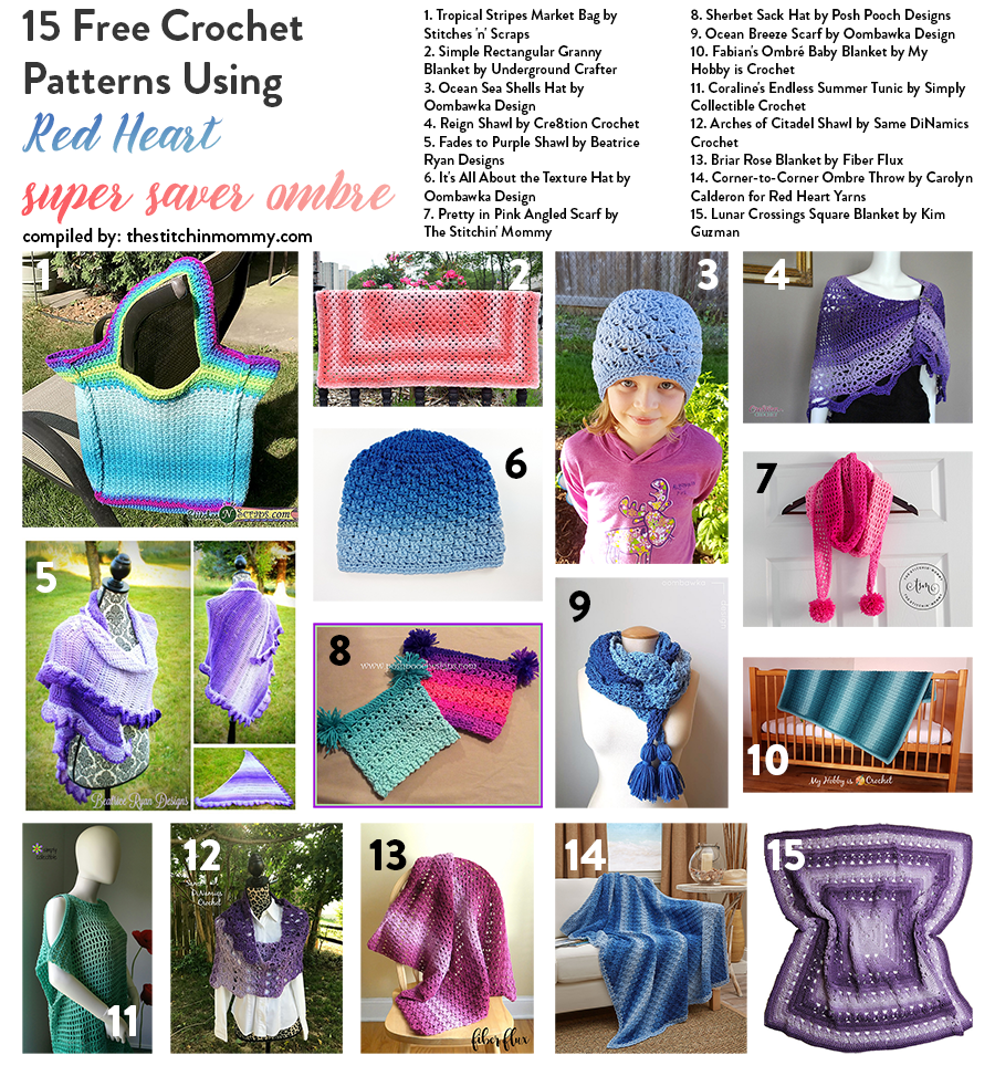 15 Free Crochet Patterns Using Red Heart Super Saver Ombre | Patrón ...