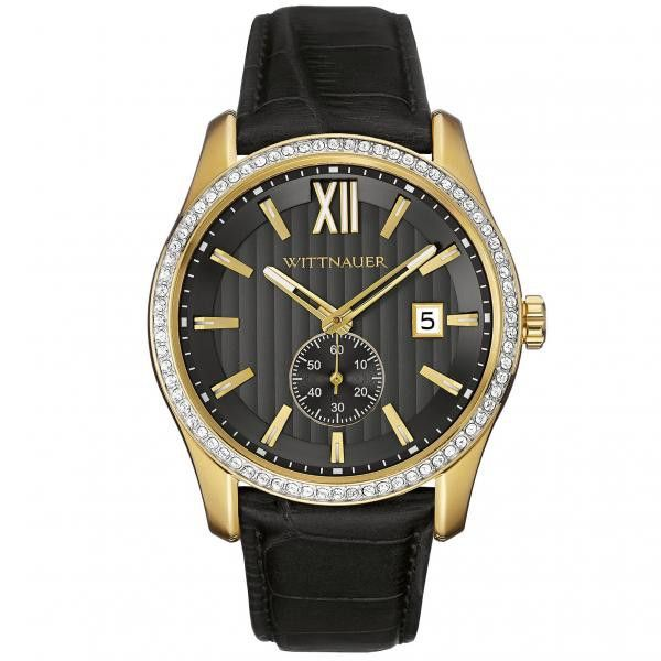 Men's Wittnauer Quartz Watch Crystal Accented with Black Leather Strap and Gold Tone Detailing