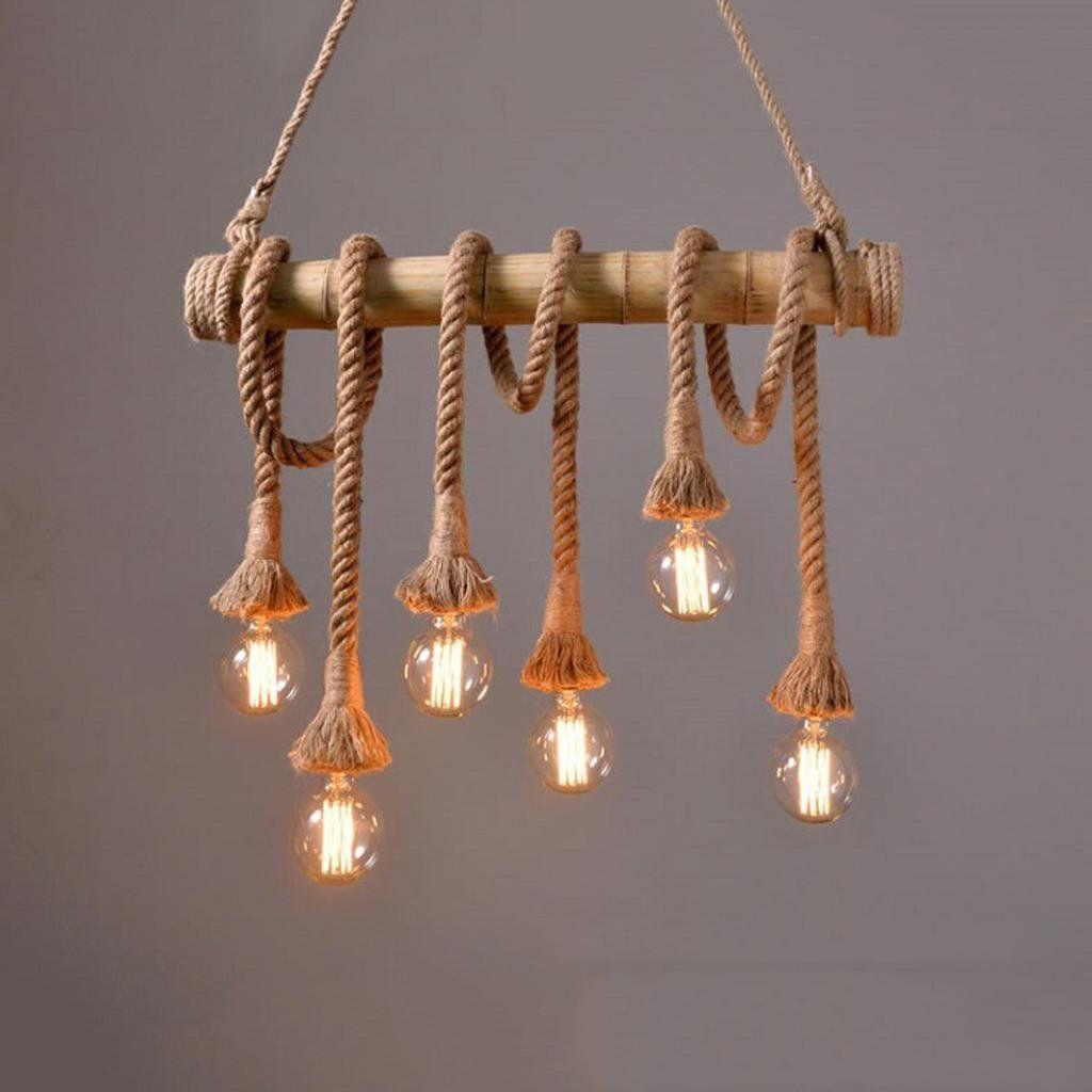 Cute Amerikanischen Retro Kopf Kronleuchter Bambus Hanf Seil Lampen Restaurant Wohnzimmer Kleidung Shop Caf Shop moderne
