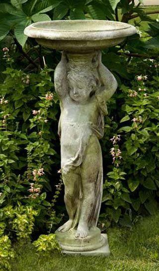 Cherub Bird Bath Indoor Plant Wall Garden Statues 640 x 480