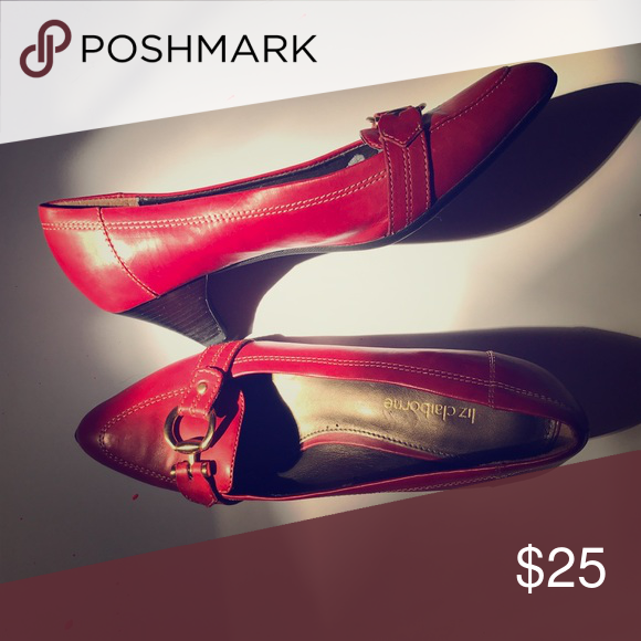 3e96bdaf46f Liz Claiborne Red Leather Pumps Gently used kitten heels. Great for leisure  shoes and beautiful pumps to accent your outfits!