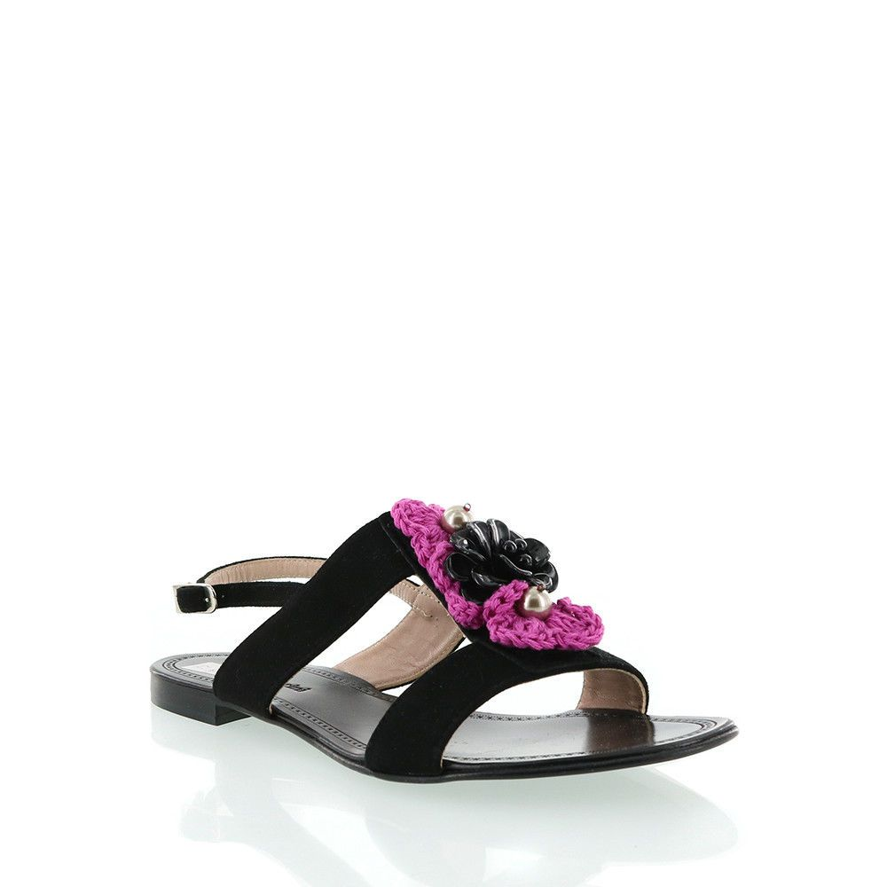 e3061208848d Orietta Mancini Suede Black Sandal With Pink Fabric Trim  fashion  clothing   shoes  accessories  womensshoes  sandals (ebay link)