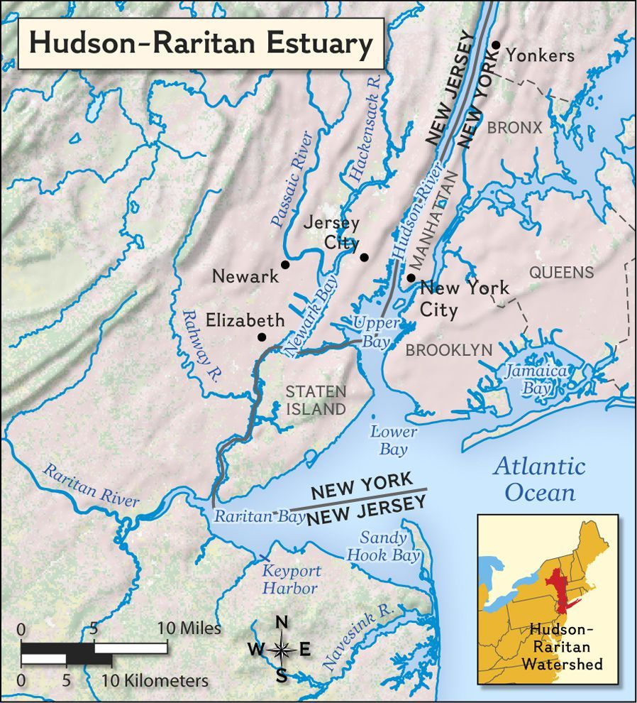 A Map Of The Hudson Raritan Estuary Of New York And New Jersey The Estuary Is The Drainage Point For The Hudson River And Surr Estuary Raritan New York Harbor