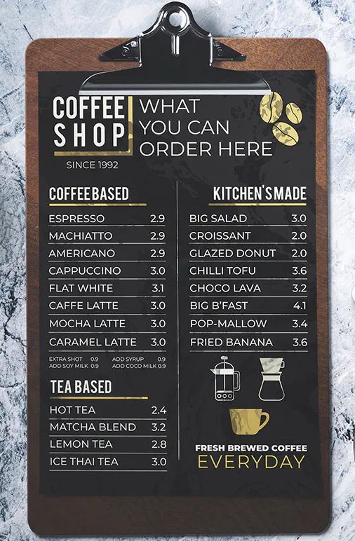 Coffee Shop Menu By Miaodrawing On Envato Elements Coffee Shop Menu Small Coffee Shop Coffee Shop Menu Board