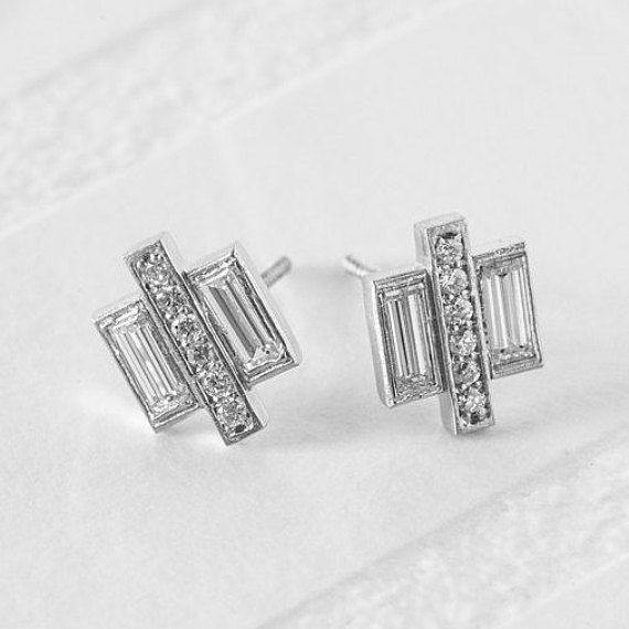 Pave Baguette Diamond Earrings  Geometric Diamond by AnuevaJewelry
