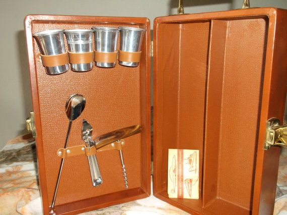 Vintage Traveling Bar Set Portable Bar Kit Suitcase Bakelite Bar