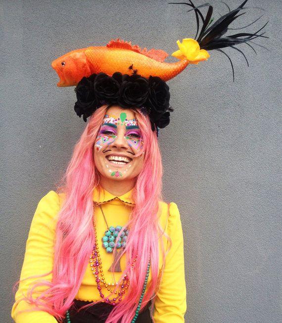 Quirky fish headdress fashion headdress festival for Fish head costume