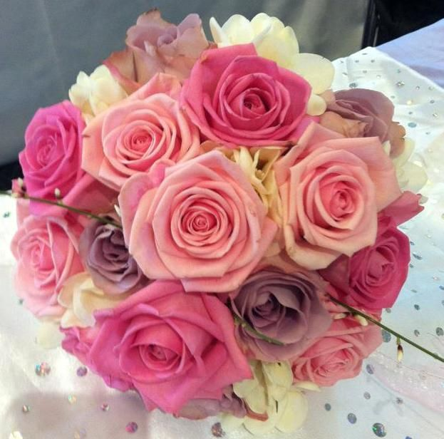 mixed pink rose bridal handtied bouquet