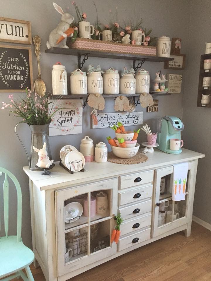 Easter RaeDunn Display Farmhouse kitchen decor, Coffee