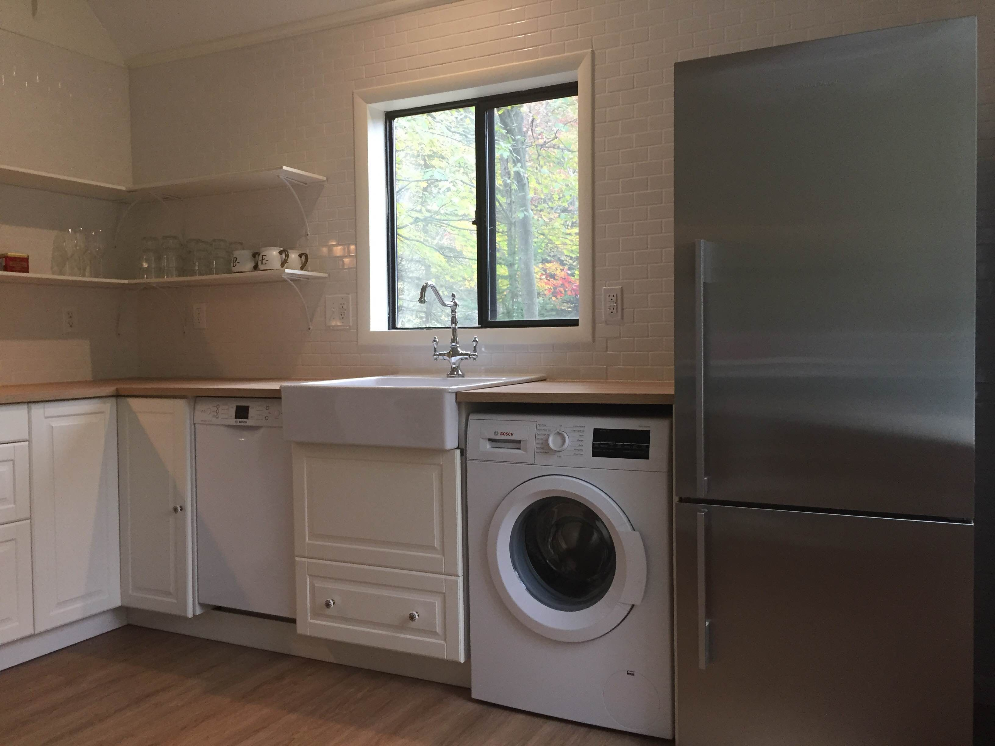kitchen design with washing machine. Rashonda Chose European Sized Appliances So She Could Fit An Oven  Sink Dishwasher Washer AND Dryer Into Her Kitchen The Is Only 18 Wide