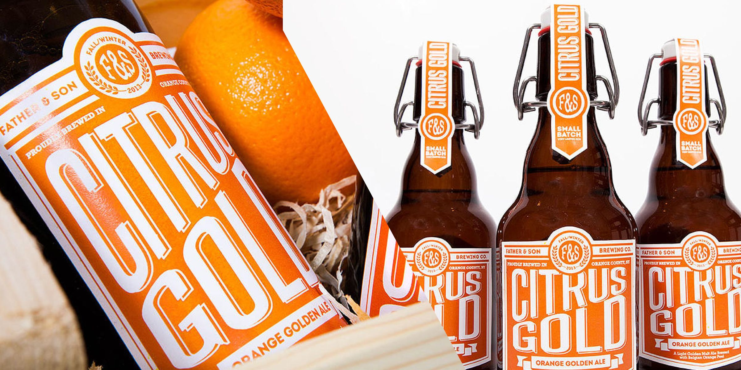 Father & Son Brewing Company: Citrus Gold. - Dieline