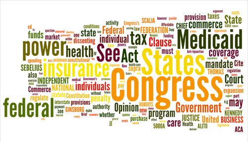 """The court's healthcare decision in a """"word cloud"""""""