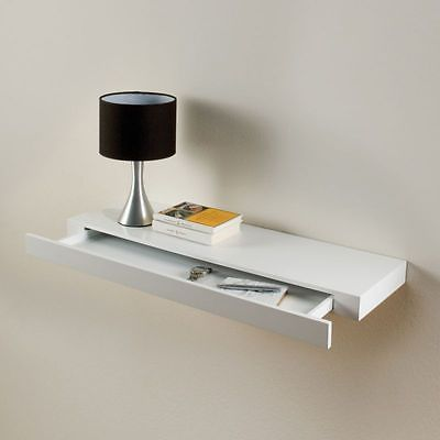 Floating Drawer Shelf Concealed Storage White Gloss Bookshelf 48cm