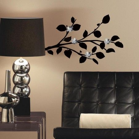 Modern Black Branch Peel And Stick Wall Decals With Bendable Flower Mirrors