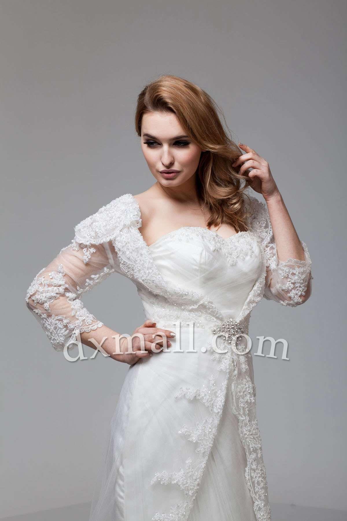 Sheath/Column Wedding Dresses Sweetheart Court Train Lace