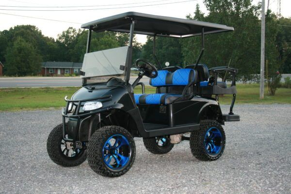E Z Go Rxv Gloss Black With Blue Seats And Rims Custom