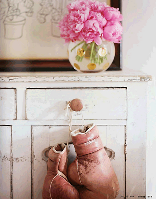 Pink boxing gloves, the perfect accessory.
