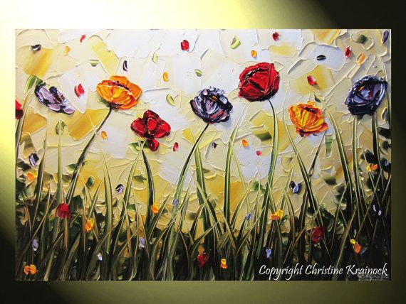 Original Art Abstract Painting Poppy Flowers Landscape Palette Knife ...