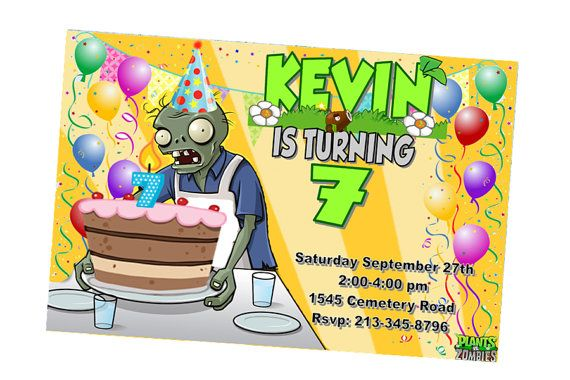 Plants Vs Zombies Invitation Personalized Digital File By