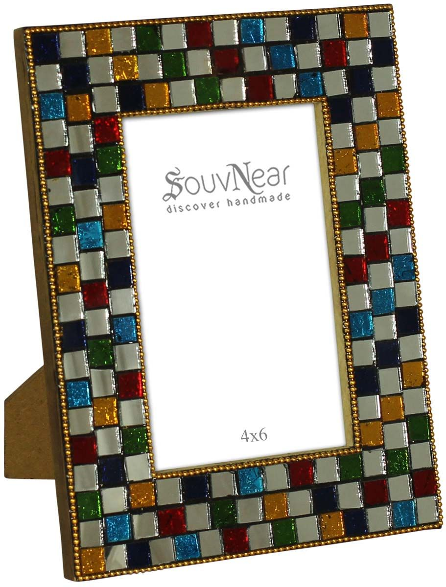 Rectangular Photo Frame in MDF with Mirror Work – Square Geometrical ...