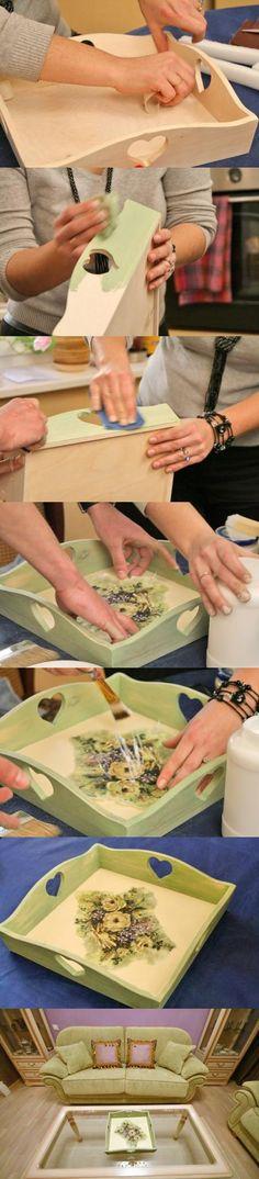 Декупаж - Сайт любителей декупажа - DCPG.RU   Декорируем поднос декупажной картой decoupage art handmade home decor craft tutorial DIY do it yourself: