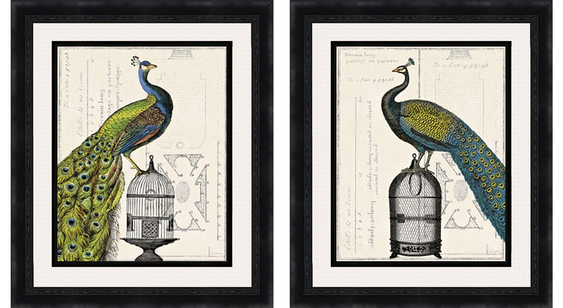 Regal Peacock 2 Piece Framed Painting Print Set