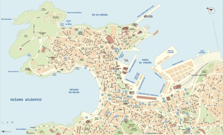 A Corua city center map Maps Pinterest City and Spain