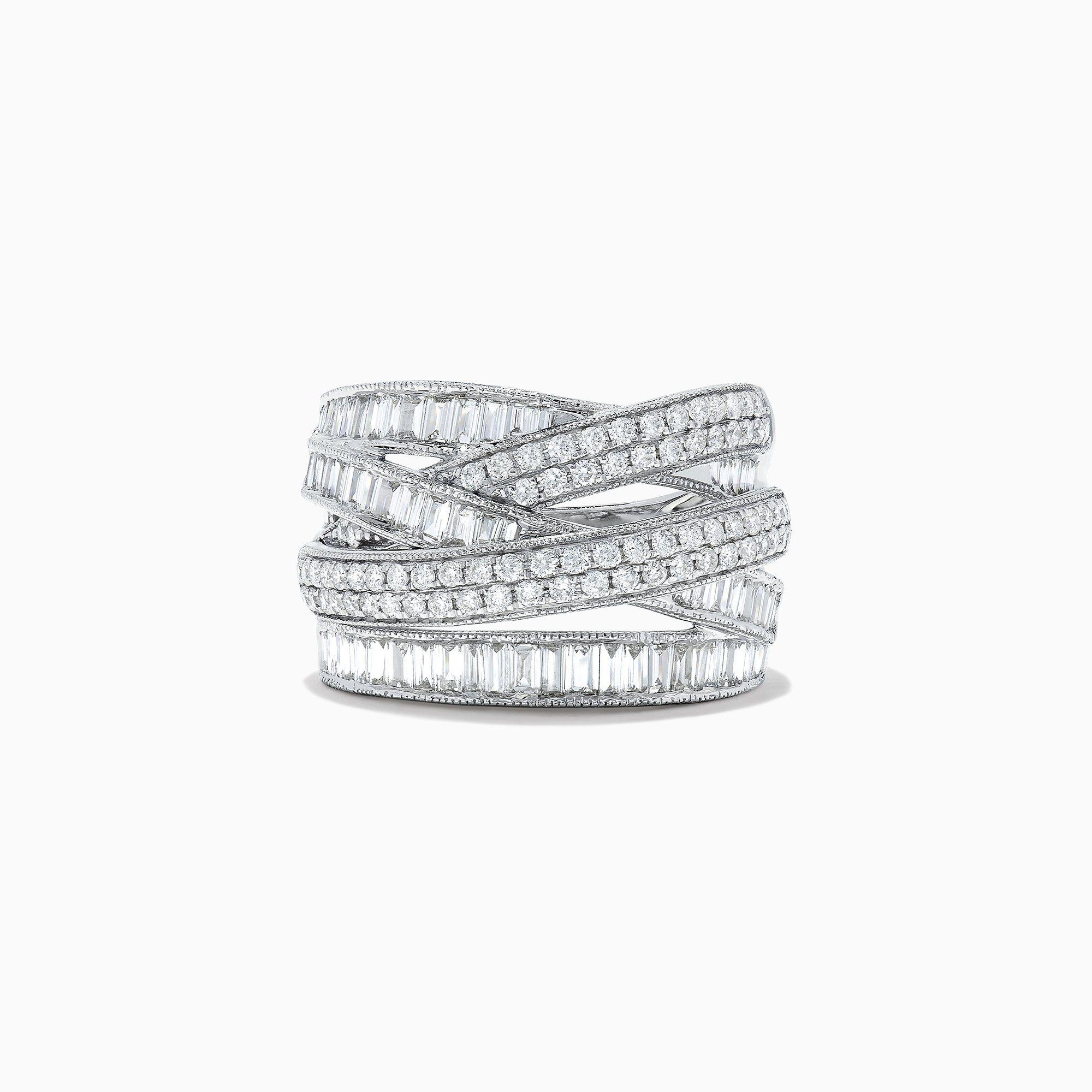 Effy Classique 14k White Gold Diamond Crossover Ring 1 47 Tcw In 2020 Crossover Diamond Ring White Gold Diamond Rings White Gold Diamonds