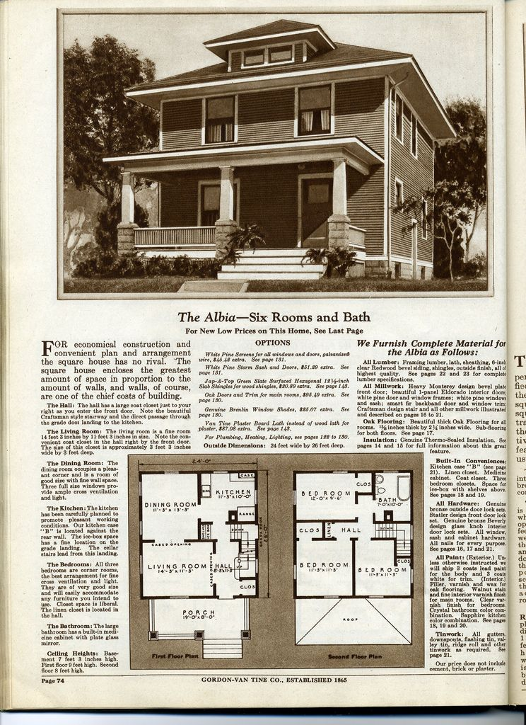 Four Squar House Design Of 1900s: Kit Homes By Gordon-Van Tine