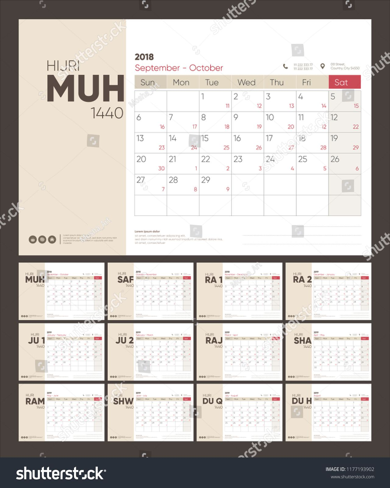 Hijri And Gregorian Calendar Planner Design For 1440 2019 Week