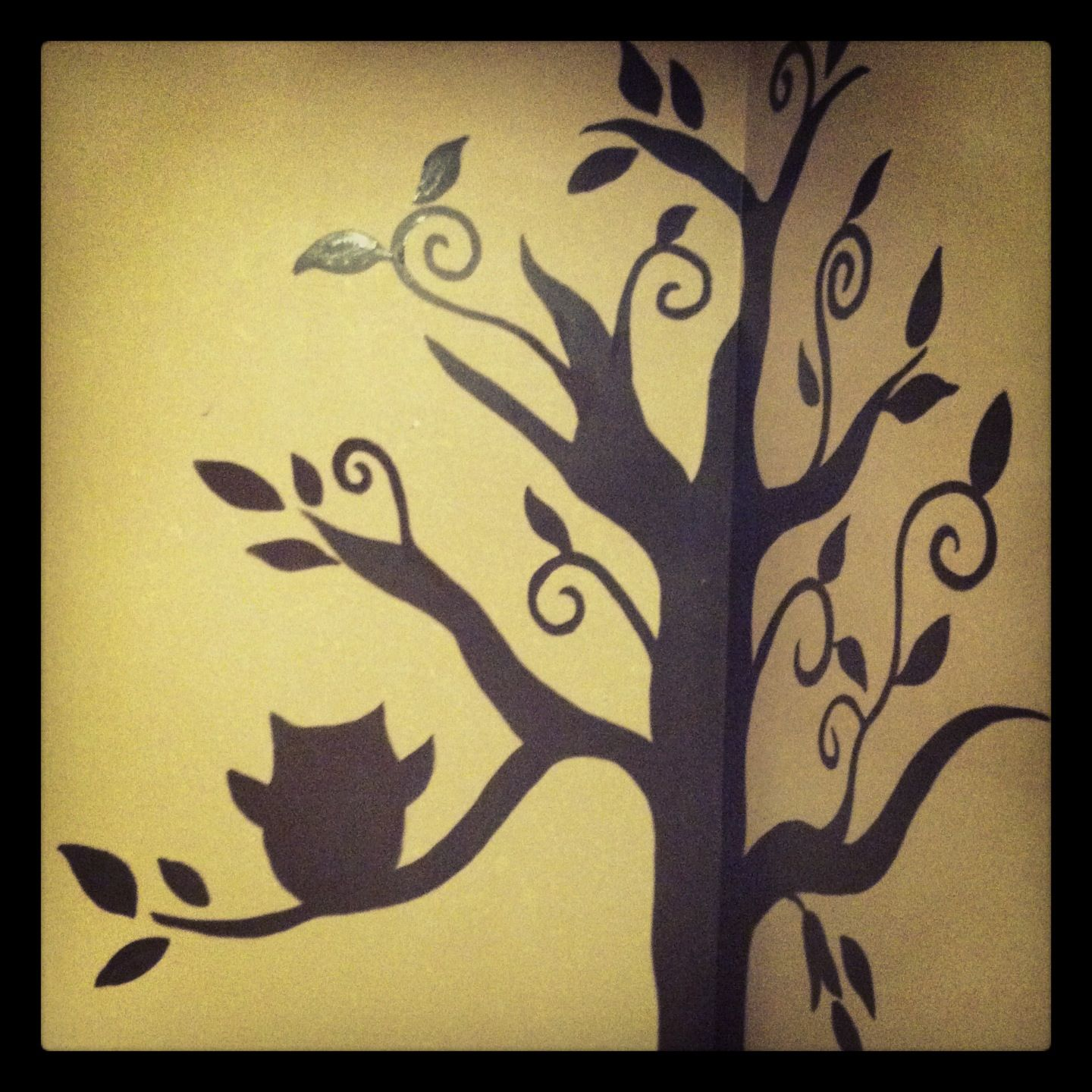 Tree wall painting with owl | Made With Kare | Pinterest | Tree wall ...