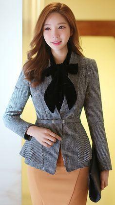 StyleOnme_Houndstooth Check Print Belted Collarless Tailored Jacket #houndstooth #tailored #jacket #office look #koreanfashion #feminine #sweet #elegant #chic #kstyle #seoul #professional #kfashion