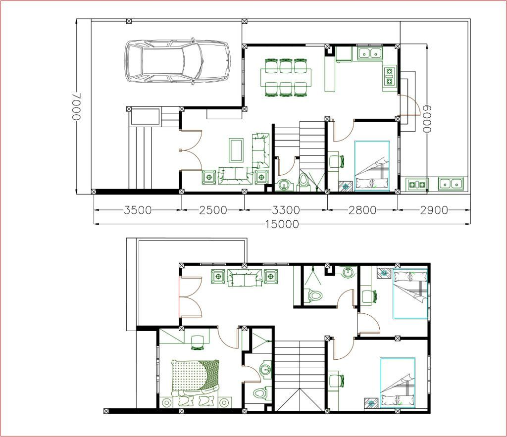 Home design plan 7x15m with 4 bedrooms samphoas plansearch
