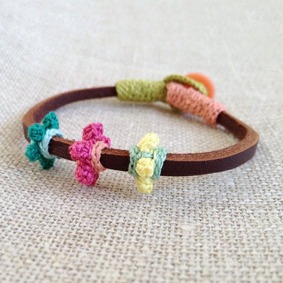 Hey, I found this really awesome Etsy listing at https://www.etsy.com/listing/103967811/leather-and-crochet-bracelet
