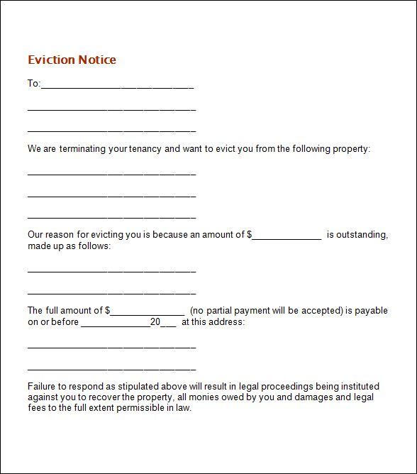 NOTICE OF EVICTION DATE STUFF Pinterest Template - how to write a letter of eviction