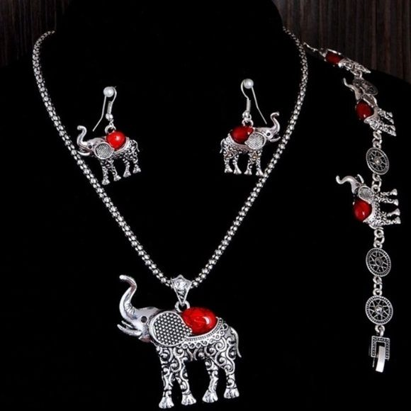 ⭐️New Elephant Jewelry Set⭐️ New elphant jewelry set. Comes with the necklace, Bracelet,and Earrings. New in package never used. Very cute great for elephant loversColor Red with silver color  Elephants Jewelry