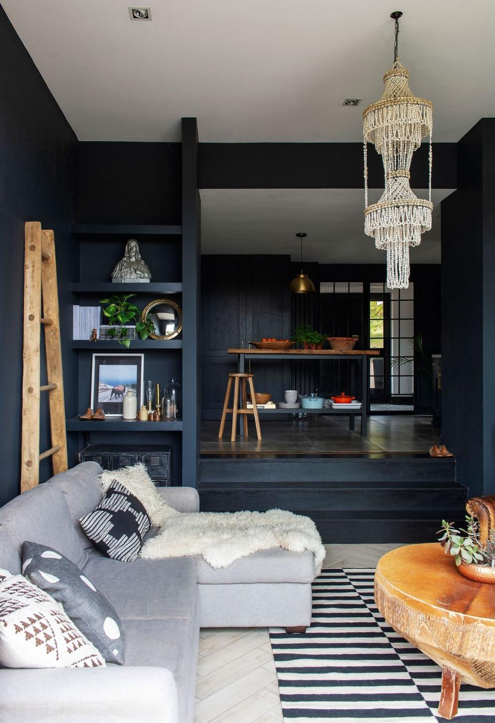 Dark Blue Living Room And Kitchen Brick Living Room Dark