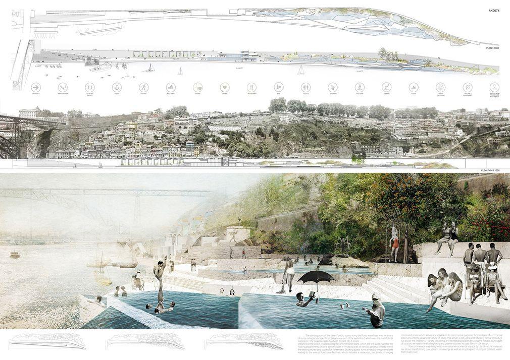 A Glimpse At The Winning Porto Pool Promenade Design Ideas Landscape Architecture Diagram Landscape Architecture Drawing Architectural Competition