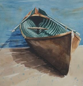 Rowing Home Watercolour Sarah Yeoman Rowing Watercolor Art