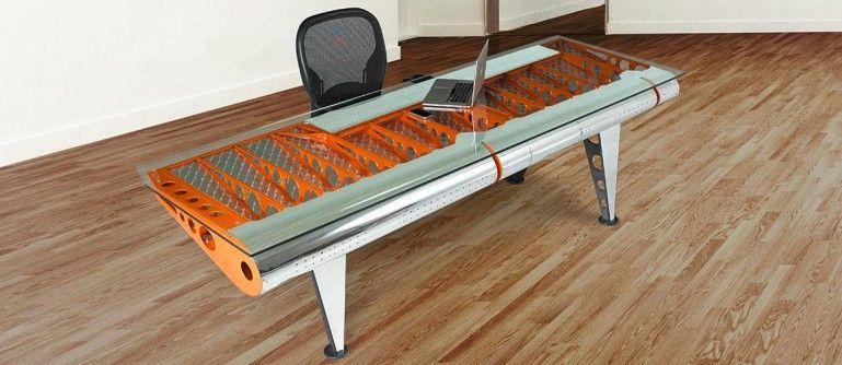 This Stunning Desk Is Made From Part Of An Albatross Flying Boat Images Desk Design Desk Luxury Desk