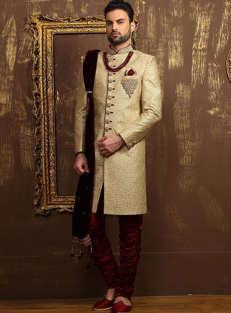Buy beige jacquard silk angrakha style sherwani online at