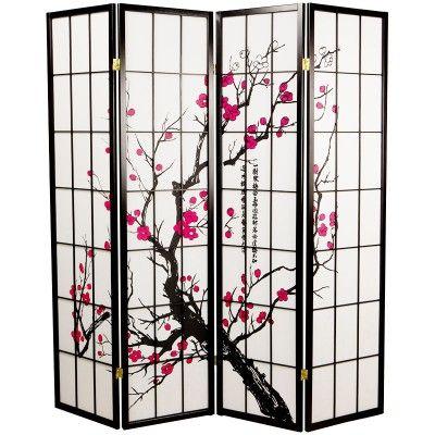 Japanische Trennwände eleganter 4 flügeliger paravent mit kirschblüten motiv weitere