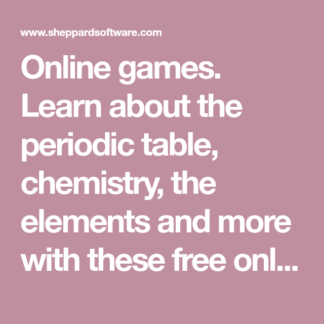 Online Games Learn About The Periodic Table Chemistry The