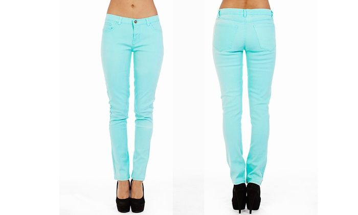Juniors' Skinny Colored Denim Jeans Deal of the Day | Groupon - saving for later, like these jeans