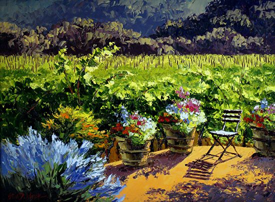 """""""Sunlit Patio"""" by Erin Dertner Oil ~ 18 x 24 Late light on a the patio of a private Silverado Trail winery property where I've had the supreme pleasure of painting. Napa cannot be beat for vistas like this without having to hop a plane and deal with jet lag."""