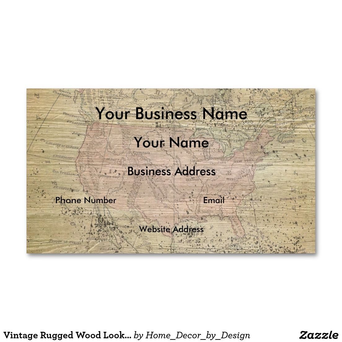 Vintage Rugged Wood Look Map Business Card | Business Cards ...