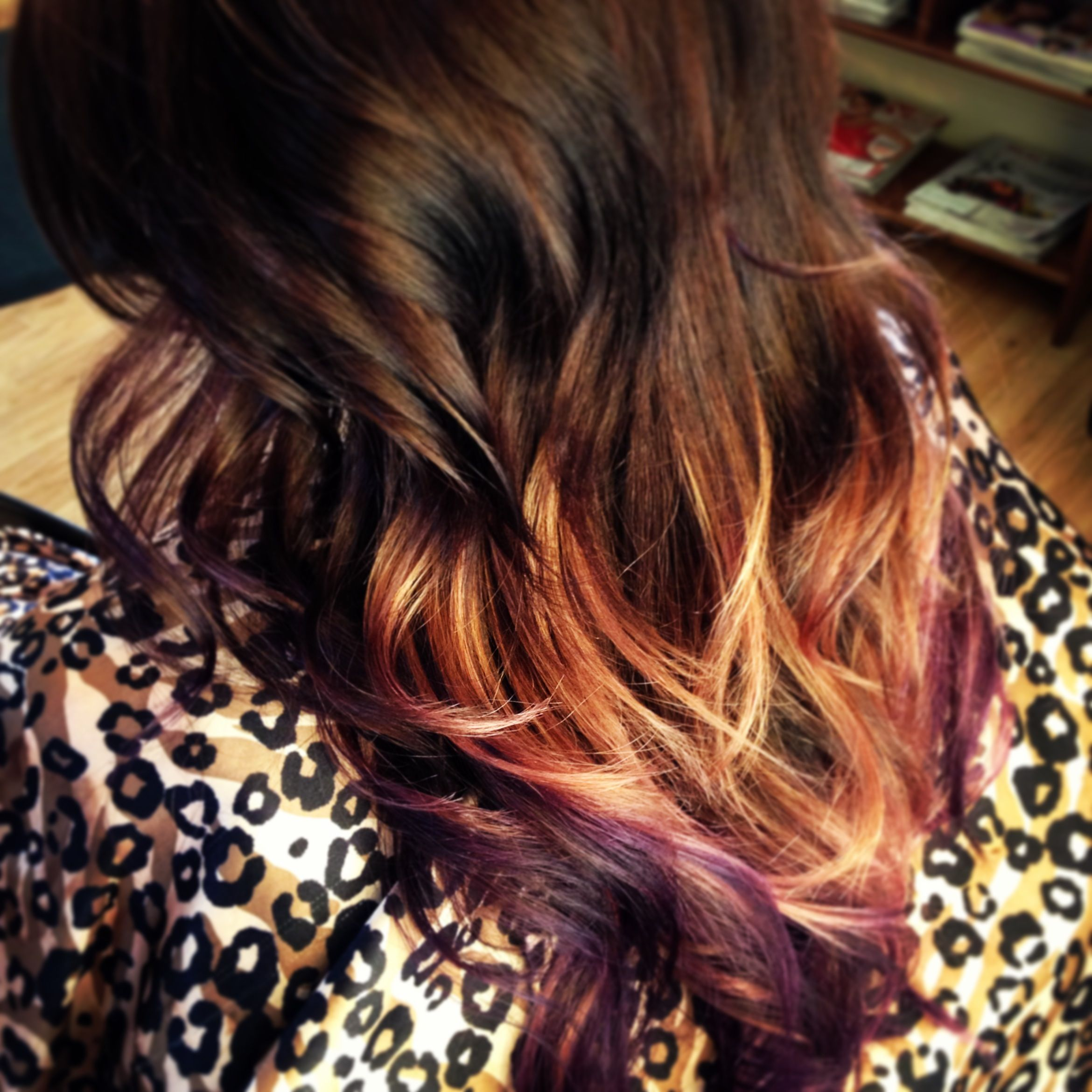 Fun Hair Color Ombre Purple Red Blonde