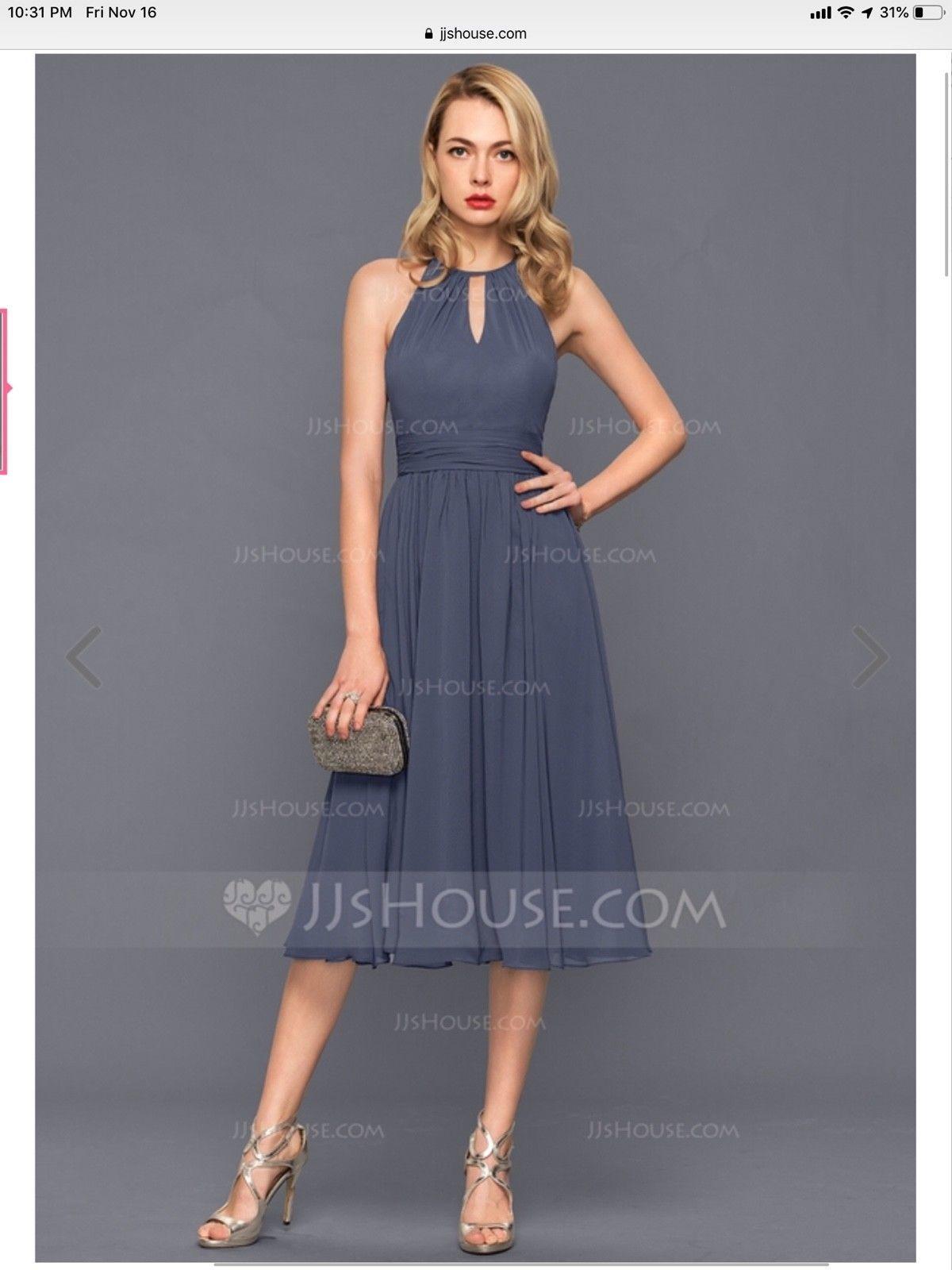 947d99b505d JJ s House  A-Line Princess Scoop Neck Knee-Length Chiffon Cocktail Dress  With R