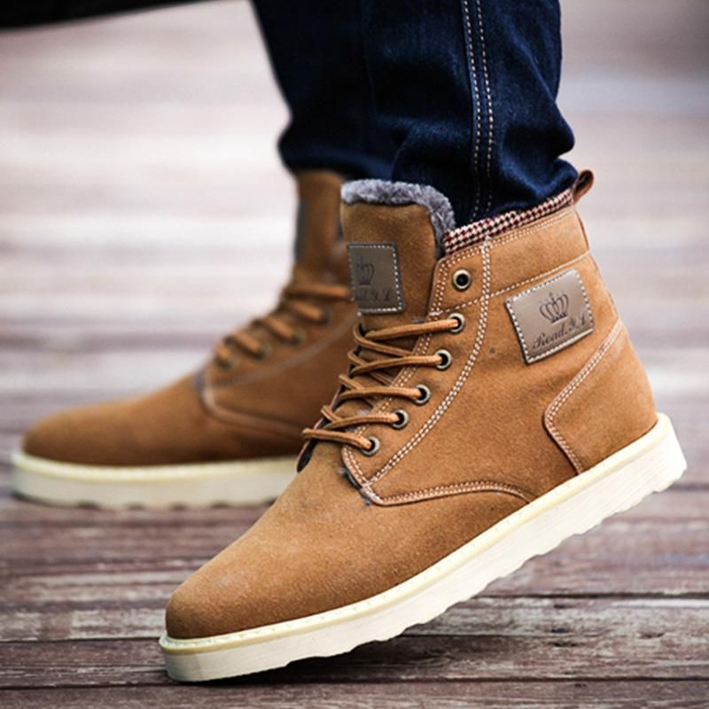 Cheap Man Warm Boots Suede For Men England Style Male Snow Boots ...