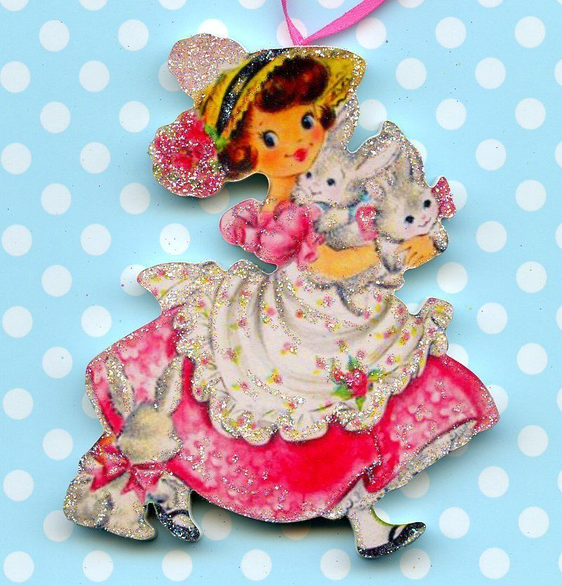 Happy Easter Glitter Ornament Decoration Girl Carrying Bunny Rabbit Vtg Card Img